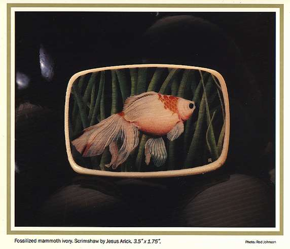 Scrimshaw goldfish by Jesus Arich, shared by OsoFamoso.com